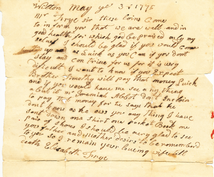 May 3 1775 letter from Elizabeth Frye to Isaac Frye